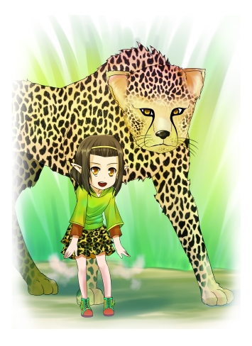 Shymaya and her cheetah.