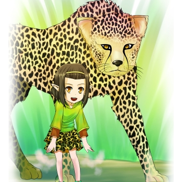 Shymaya and her cheetah.