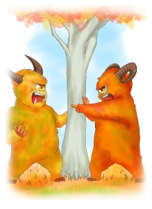 Two monsters quarreling over a tree; can William help solve their dilemma?